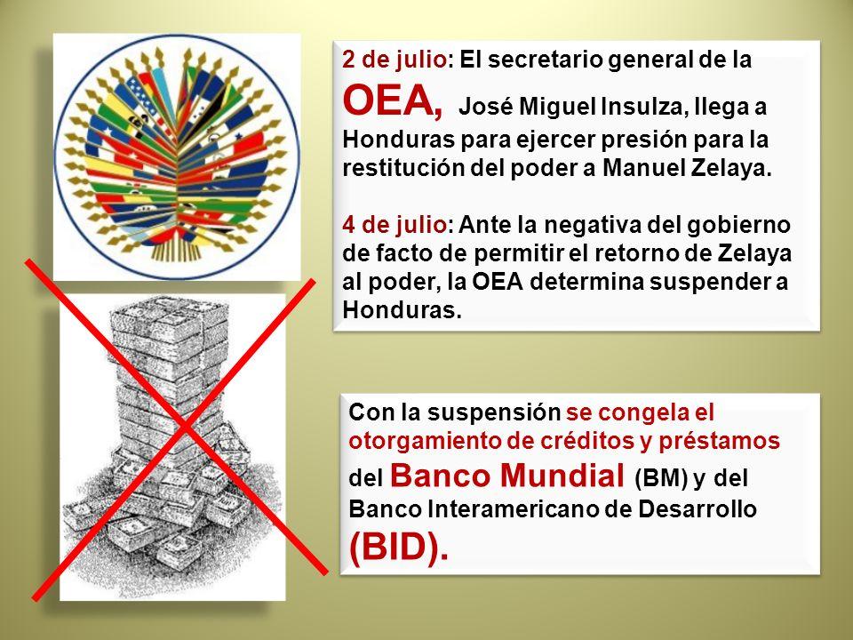 2 de julio: El secretario general de la OEA, José Miguel Insulza, llega a Honduras para ejercer presión para la restitución del poder a Manuel Zelaya.