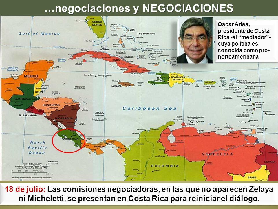 18 de julio: Las comisiones negociadoras, en las que no aparecen Zelaya ni Micheletti, se presentan en Costa Rica para reiniciar el diálogo. Oscar Ari