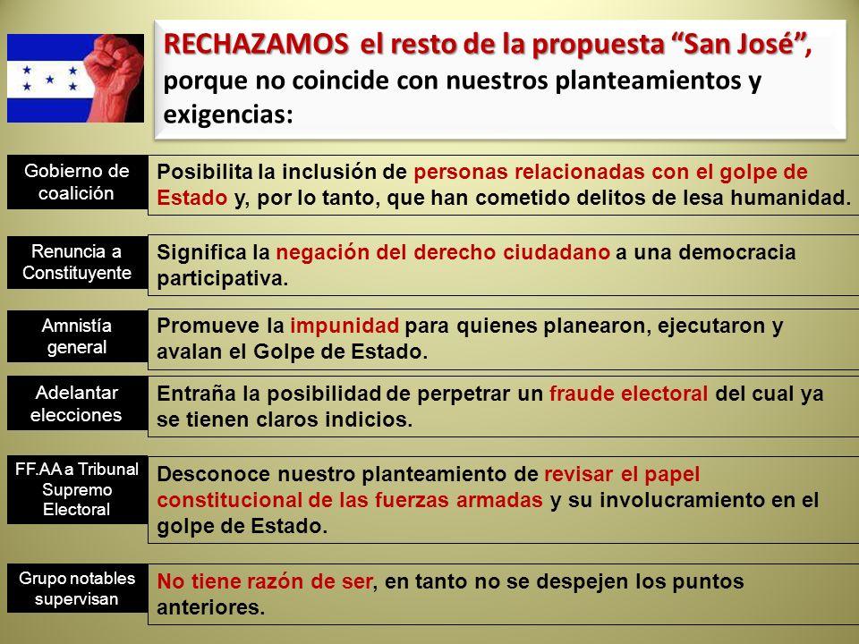 RECHAZAMOS el resto de la propuesta San José RECHAZAMOS el resto de la propuesta San José, porque no coincide con nuestros planteamientos y exigencias