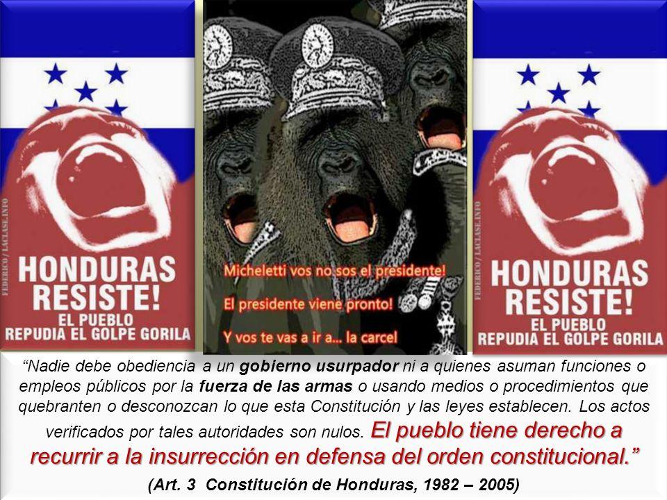 El pueblo tiene derecho a recurrir a la insurrección en defensa del orden constitucional. Nadie debe obediencia a un gobierno usurpador ni a quienes a