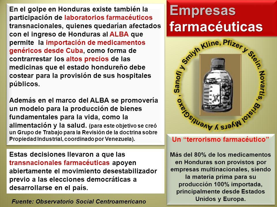 En el golpe en Honduras existe también la participación de laboratorios farmacéuticos transnacionales, quienes quedarían afectados con el ingreso de H