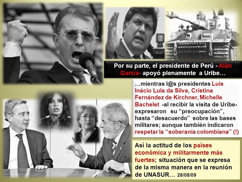 …mientras l@s presidentes Luis Inácio Lula da Silva, Cristina Fernández de Kirchner, Michelle Bachelet -al recibir la visita de Uribe- expresaron su p