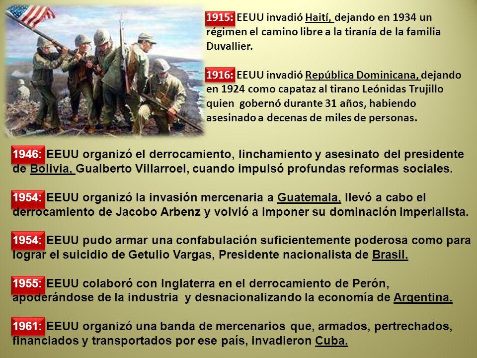 1946: EEUU organizó el derrocamiento, linchamiento y asesinato del presidente de Bolivia, Gualberto Villarroel, cuando impulsó profundas reformas soci