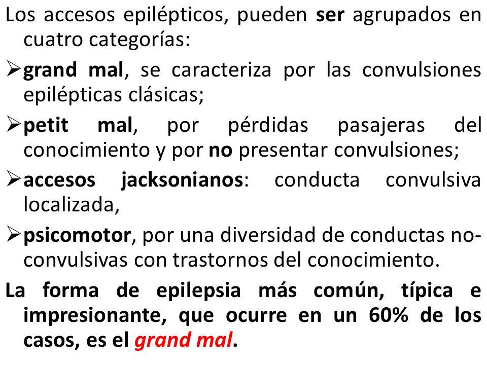 Los accesos epilépticos, pueden ser agrupados en cuatro categorías: grand mal, se caracteriza por las convulsiones epilépticas clásicas; petit mal, po