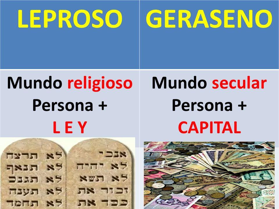 LEPROSOGERASENO Mundo religioso Persona + L E Y Mundo secular Persona + CAPITAL