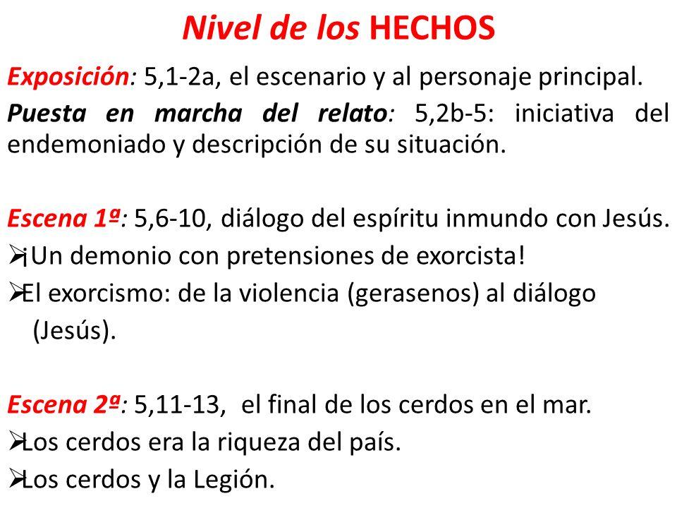Nivel de los HECHOS Exposición: 5,1-2a, el escenario y al personaje principal. Puesta en marcha del relato: 5,2b-5: iniciativa del endemoniado y descr