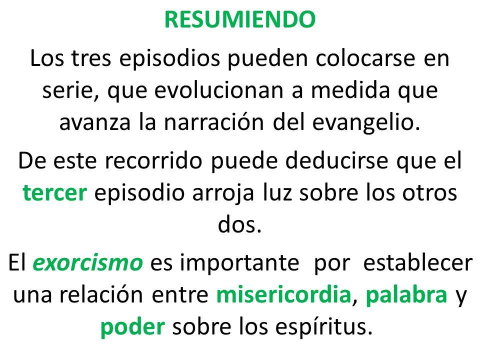 RESUMIENDO Los tres episodios pueden colocarse en serie, que evolucionan a medida que avanza la narración del evangelio. De este recorrido puede deduc