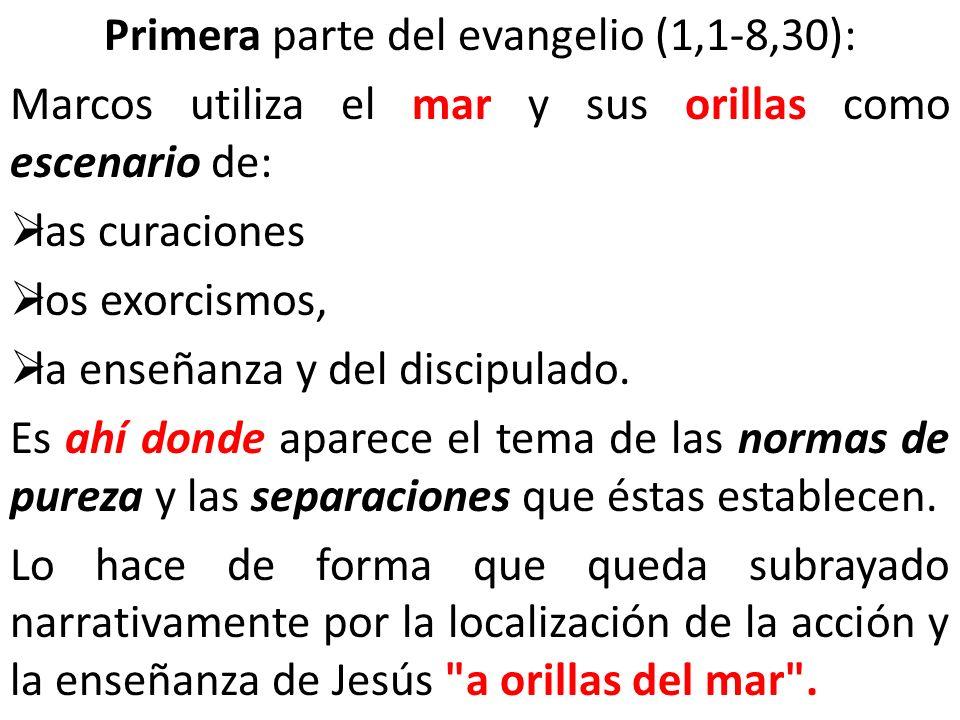 Primera parte del evangelio (1,1-8,30): Marcos utiliza el mar y sus orillas como escenario de: las curaciones los exorcismos, la enseñanza y del disci