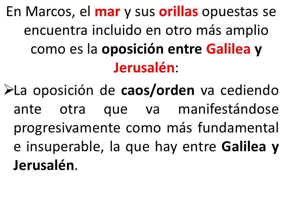 En Marcos, el mar y sus orillas opuestas se encuentra incluido en otro más amplio como es la oposición entre Galilea y Jerusalén: La oposición de caos