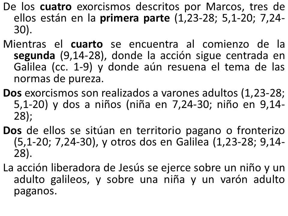 De los cuatro exorcismos descritos por Marcos, tres de ellos están en la primera parte (1,23-28; 5,1-20; 7,24- 30). Mientras el cuarto se encuentra al