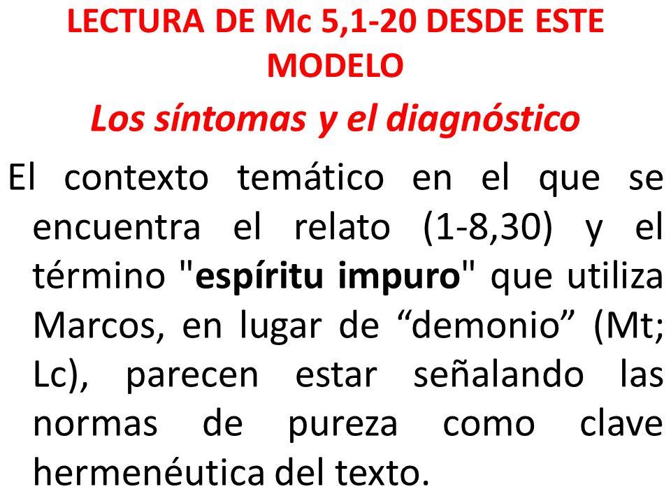 LECTURA DE Mc 5,1-20 DESDE ESTE MODELO Los síntomas y el diagnóstico El contexto temático en el que se encuentra el relato (1-8,30) y el término