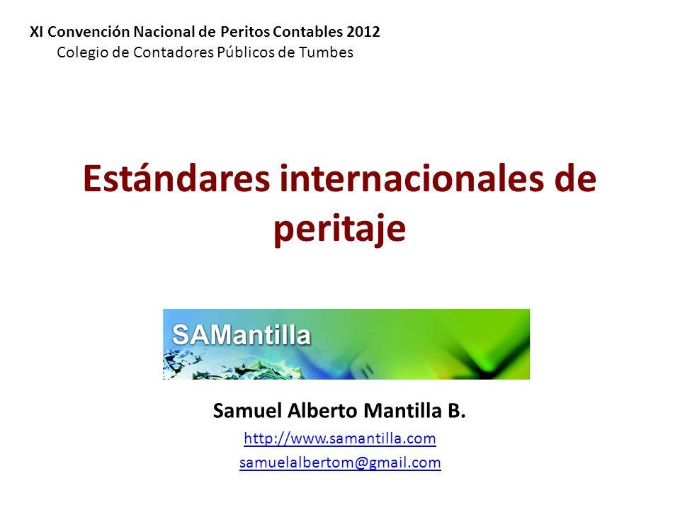 Estándares internacionales de peritaje Samuel Alberto Mantilla B. http://www.samantilla.com samuelalbertom@gmail.com XI Convención Nacional de Peritos