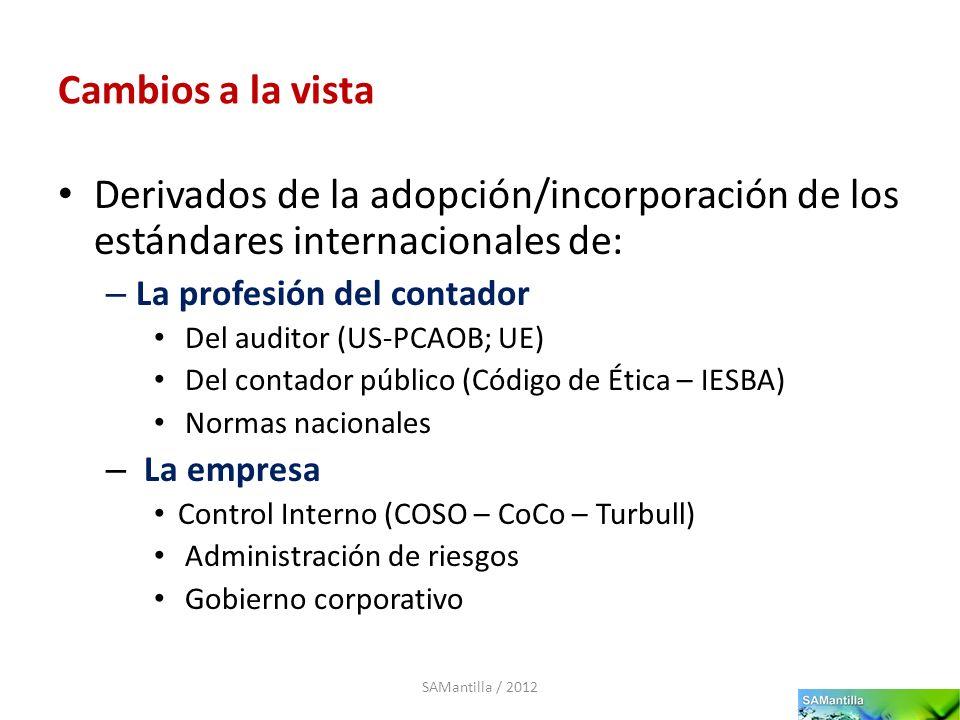 Cambios a la vista Derivados de la adopción/incorporación de los estándares internacionales de: – La profesión del contador Del auditor (US-PCAOB; UE)