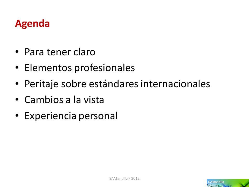 Agenda Para tener claro Elementos profesionales Peritaje sobre estándares internacionales Cambios a la vista Experiencia personal SAMantilla / 2012