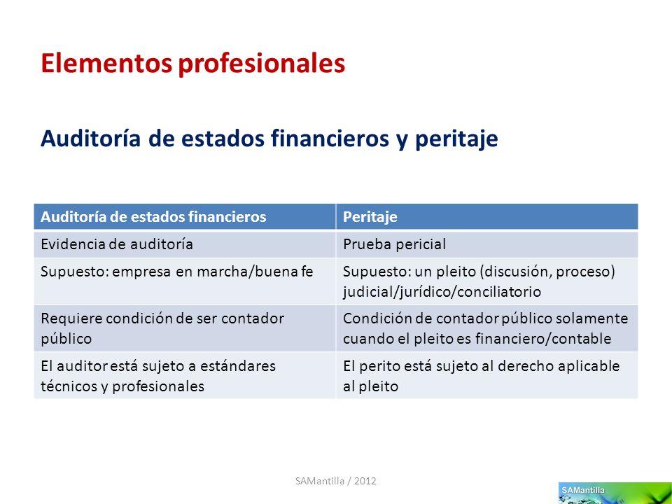 Elementos profesionales Auditoría de estados financierosPeritaje Evidencia de auditoríaPrueba pericial Supuesto: empresa en marcha/buena feSupuesto: u