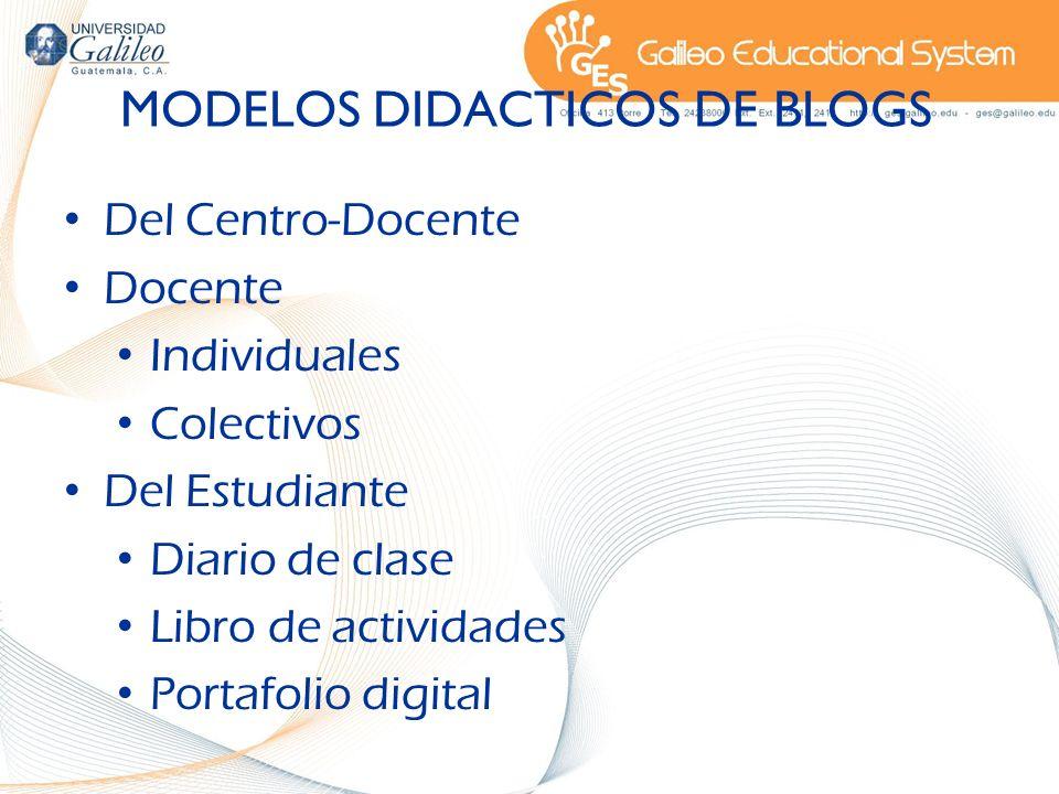 MODELOS DIDACTICOS DE BLOGS Del Centro-Docente Docente Individuales Colectivos Del Estudiante Diario de clase Libro de actividades Portafolio digital