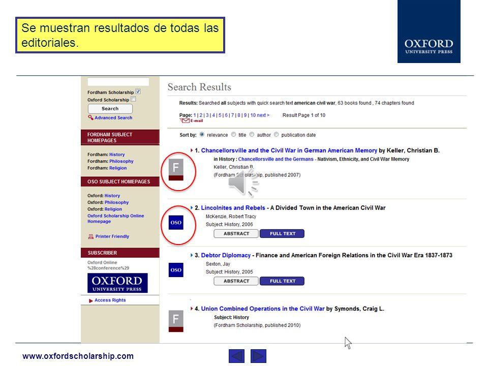 www.oxfordscholarship.com Para realizar una búsqueda a través de los libros de las diferentes editoriales, teclee los términos de búsqueda en la caja y haga clic.