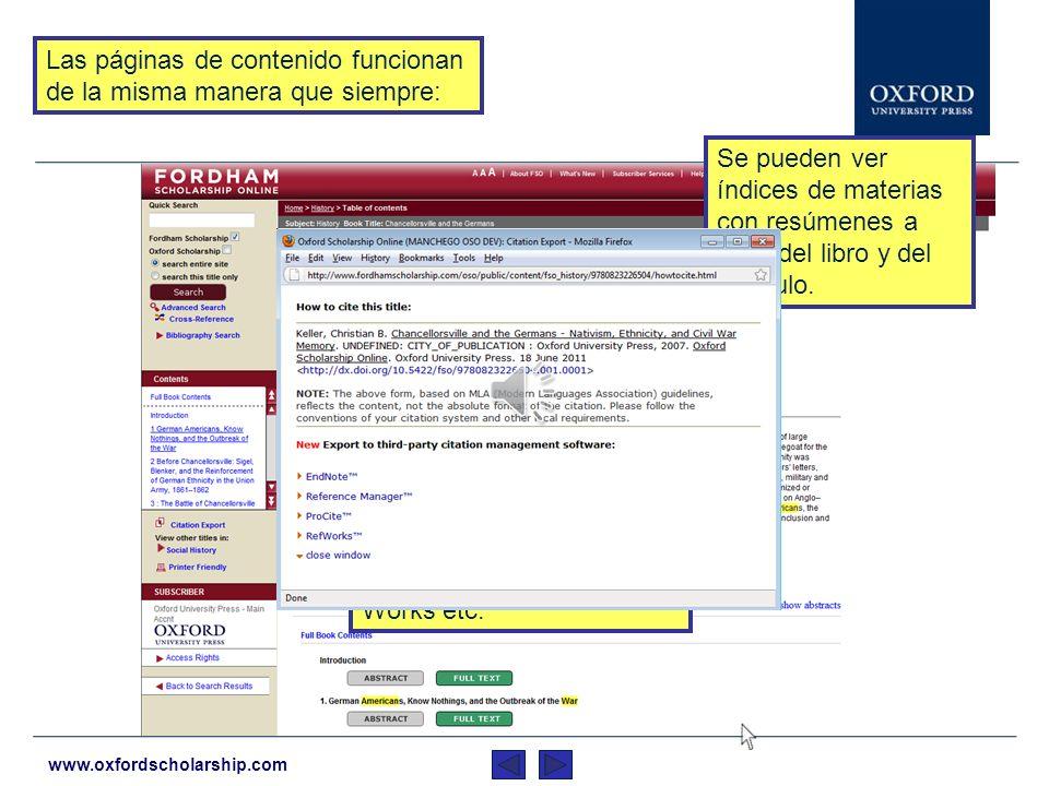 www.oxfordscholarship.com Se muestran resultados de todas las editoriales.