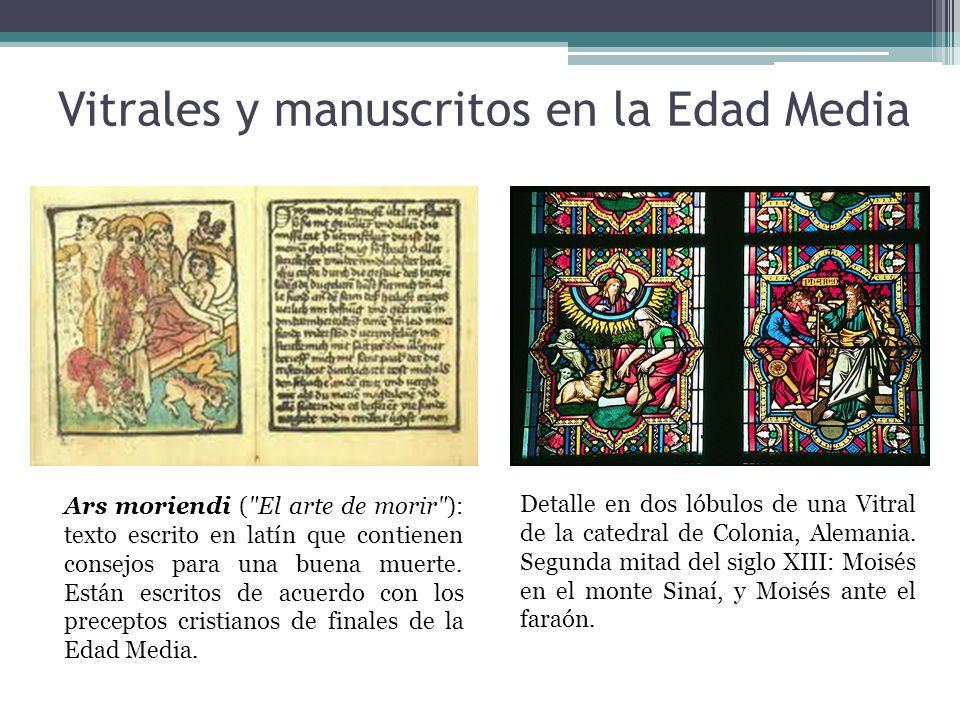 Vitrales y manuscritos en la Edad Media Detalle en dos lóbulos de una Vitral de la catedral de Colonia, Alemania.
