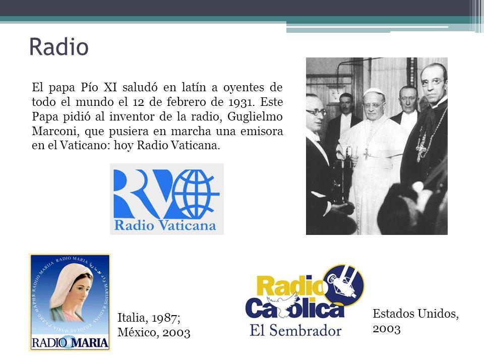 Radio El papa Pío XI saludó en latín a oyentes de todo el mundo el 12 de febrero de 1931.