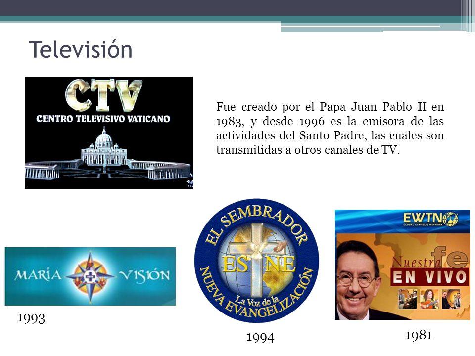1993 Televisión Fue creado por el Papa Juan Pablo II en 1983, y desde 1996 es la emisora de las actividades del Santo Padre, las cuales son transmitidas a otros canales de TV.
