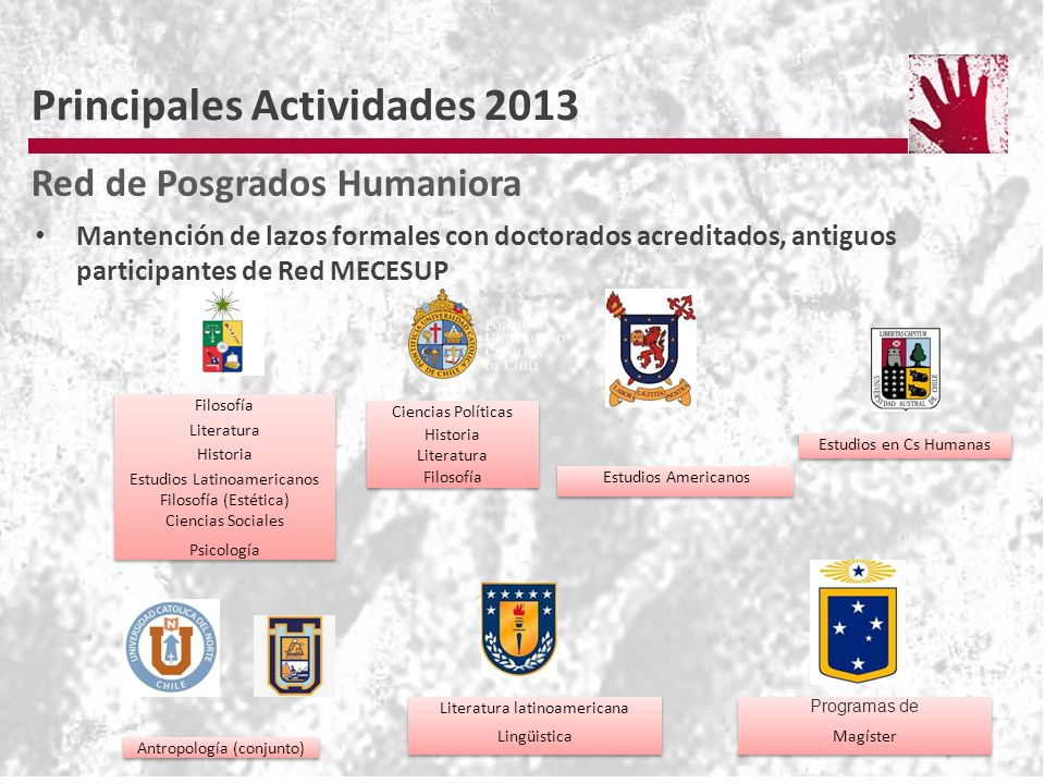 Mantención de lazos formales con doctorados acreditados, antiguos participantes de Red MECESUP Principales Actividades 2013 Red de Posgrados Humaniora