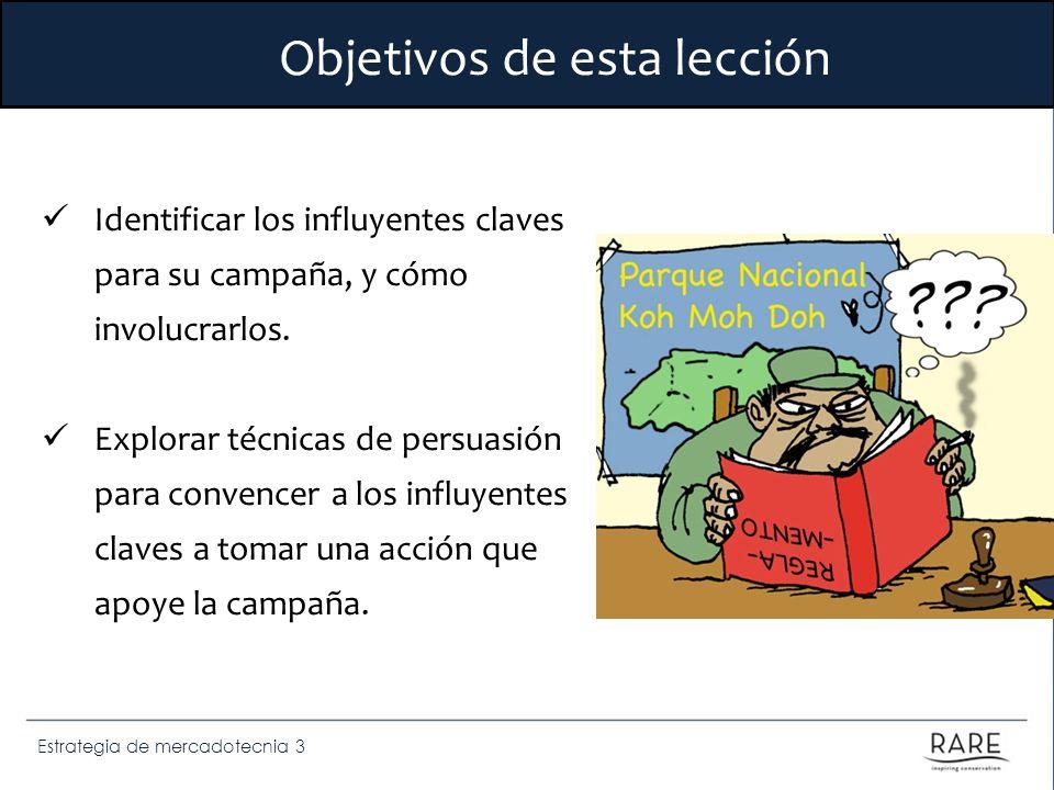 Estrategia de mercadotecnia 3 Objetivos de esta lección Identificar los influyentes claves para su campaña, y cómo involucrarlos. Explorar técnicas de