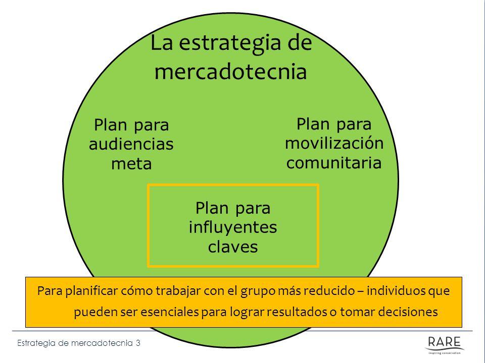 Estrategia de mercadotecnia 3 La estrategia de mercadotecnia Para planificar cómo trabajar con el grupo más reducido – individuos que pueden ser esenc