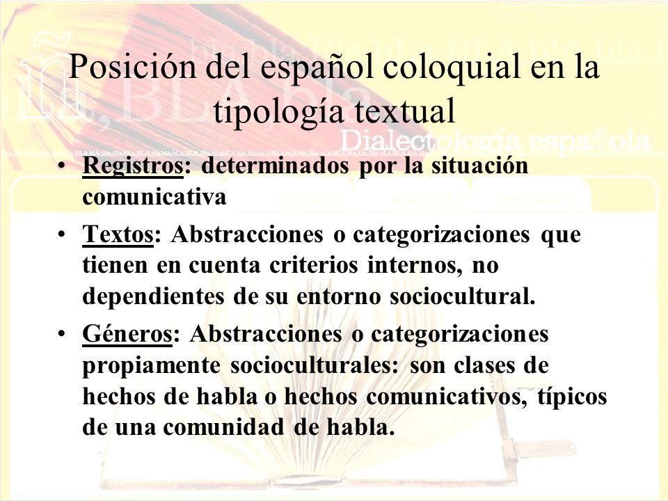 Posición del español coloquial en la tipología textual Registros: determinados por la situación comunicativa Textos: Abstracciones o categorizaciones que tienen en cuenta criterios internos, no dependientes de su entorno sociocultural.