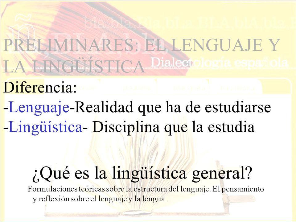 PRELIMINARES: EL LENGUAJE Y LA LINGÜÍSTICA Diferencia: -Lenguaje-Realidad que ha de estudiarse -Lingüística- Disciplina que la estudia Formulaciones teóricas sobre la estructura del lenguaje.