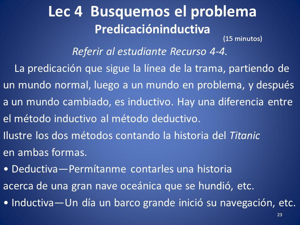 Lec 4 Busquemos el problema 22 Referir al estudiante Recurso 4-4. Predicación inductiva Procede de una situación específica a una verdad reconocida. H