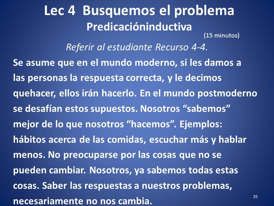 Lec 4 Busquemos el problema Predicacióninductiva 24 Referir al estudiante Recurso 4-4. Cada método tiene sus fuerzas y sus debilidades. La predicación