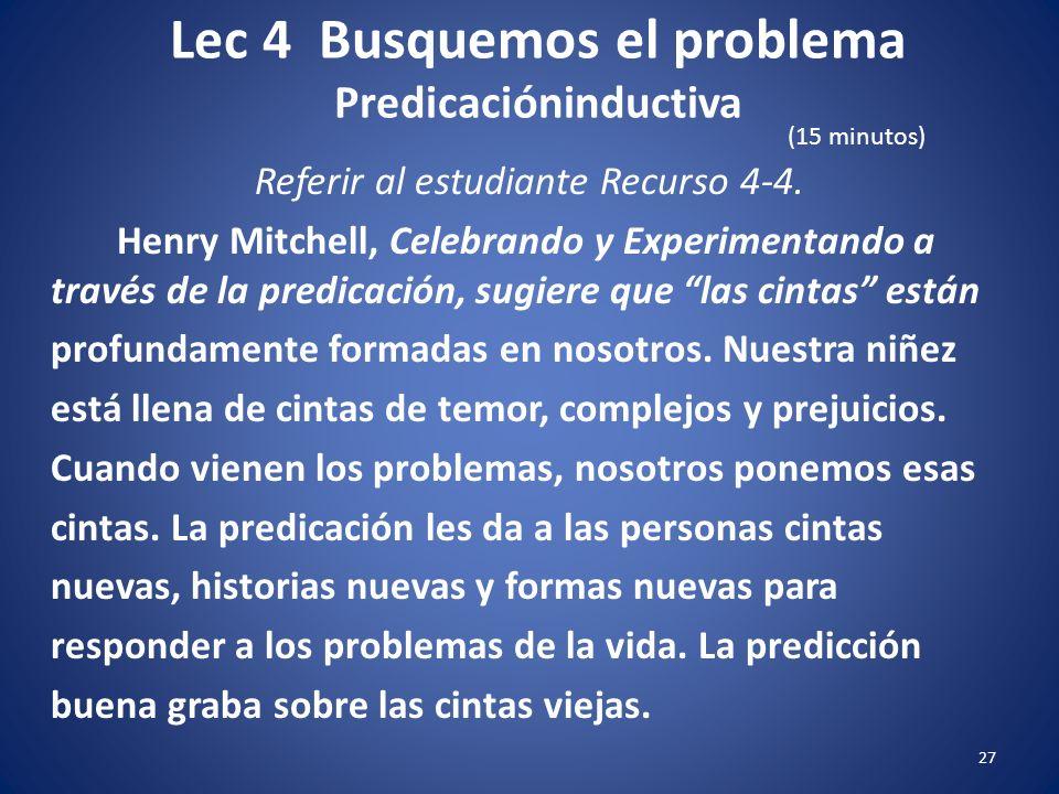Lec 4 Busquemos el problema Predicacióninductiva 26 Referir al estudiante Recurso 4-4. Nuestro comportamiento o conducta cambiará cuando experimentamo