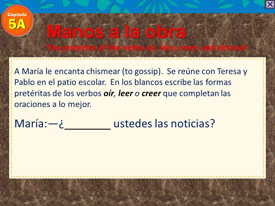 Manos a la obra The preterite of the verbs oír, leer, creer, and destruir Destruir is conjugated like oír, creer, and leer in the preterite except tha