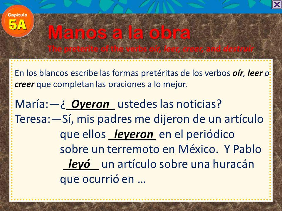 Manos a la obra The preterite of the verbs oír, leer, creer, and destruir En los blancos escribe las formas pretéritas de los verbos oír, leer o creer