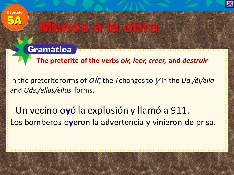 Manos a la obra The preterite of the verbs oír, leer, creer, and destruir