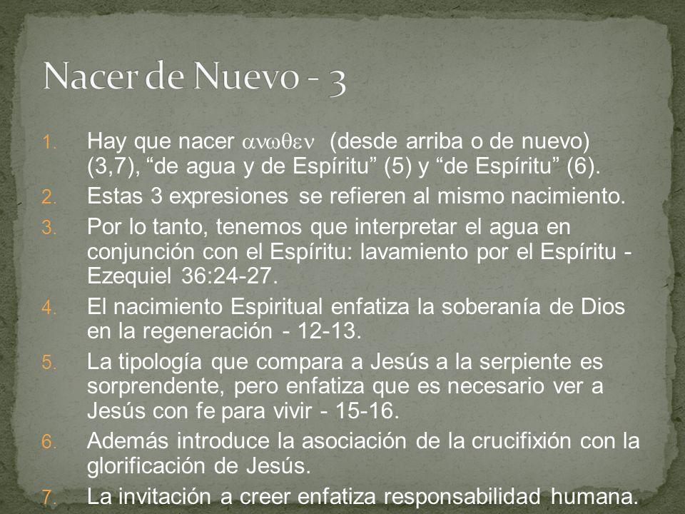 1.Hay que nacer (desde arriba o de nuevo) (3,7), de agua y de Espíritu (5) y de Espíritu (6).