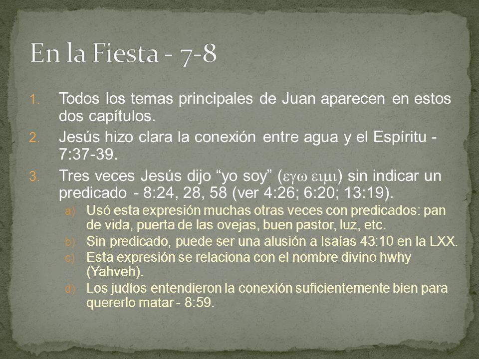 1.Todos los temas principales de Juan aparecen en estos dos capítulos.