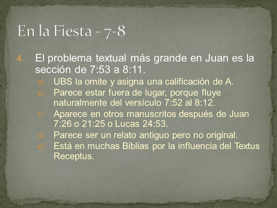 4.El problema textual más grande en Juan es la sección de 7:53 a 8:11.