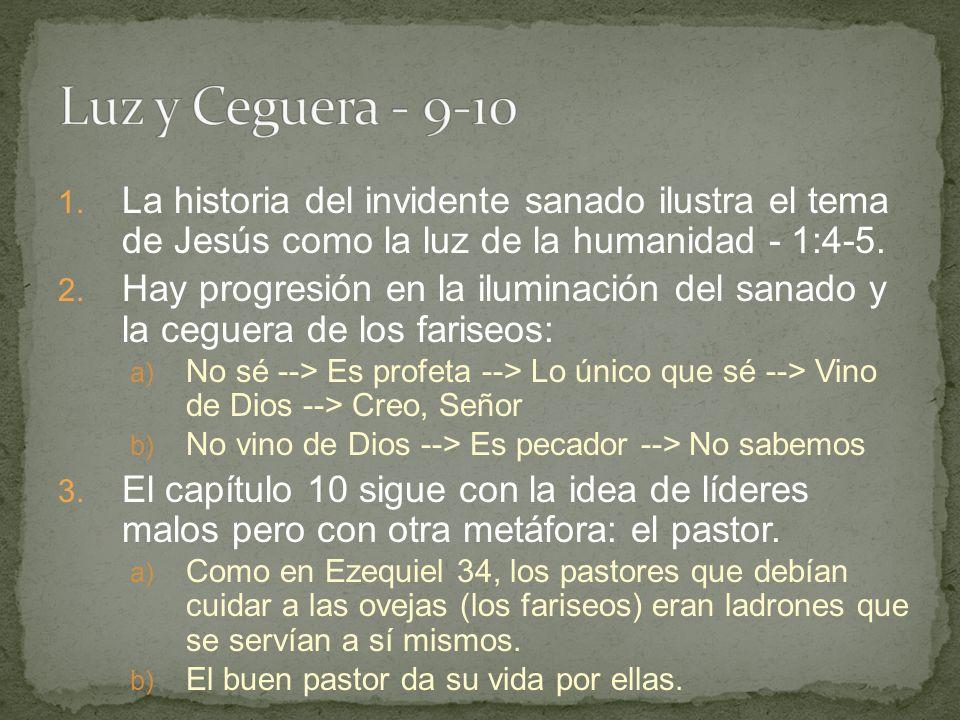 1.La historia del invidente sanado ilustra el tema de Jesús como la luz de la humanidad - 1:4-5.