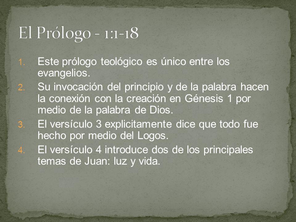 1.Este prólogo teológico es único entre los evangelios.