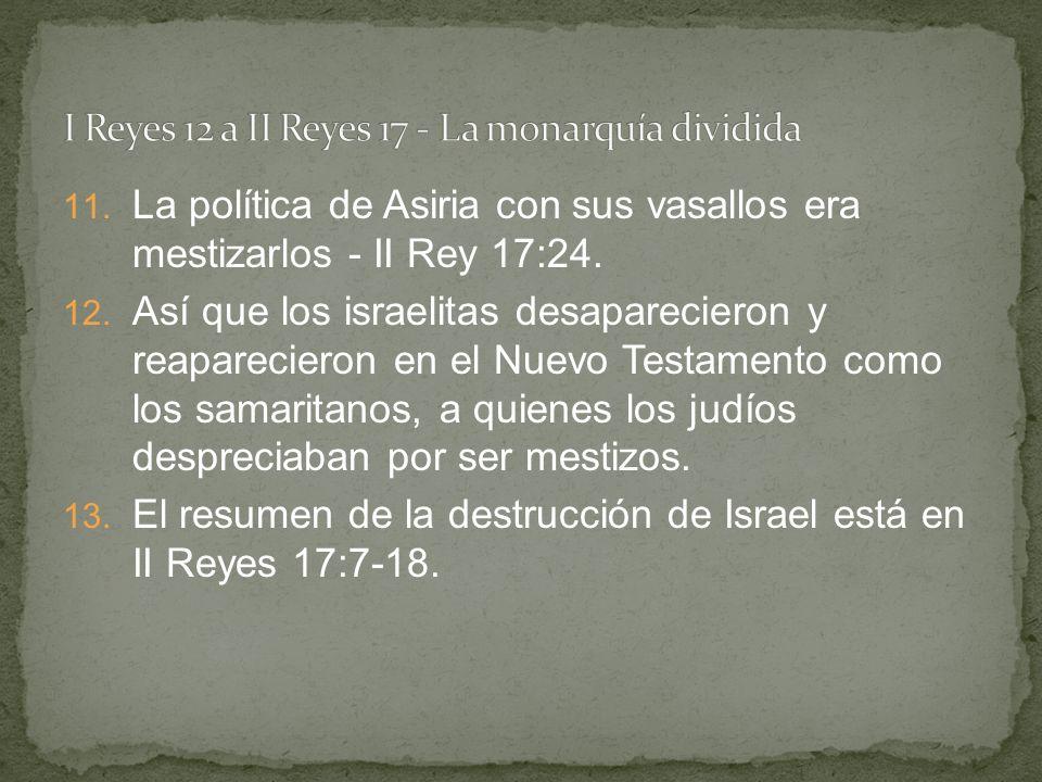 11. La política de Asiria con sus vasallos era mestizarlos - II Rey 17:24. 12. Así que los israelitas desaparecieron y reaparecieron en el Nuevo Testa