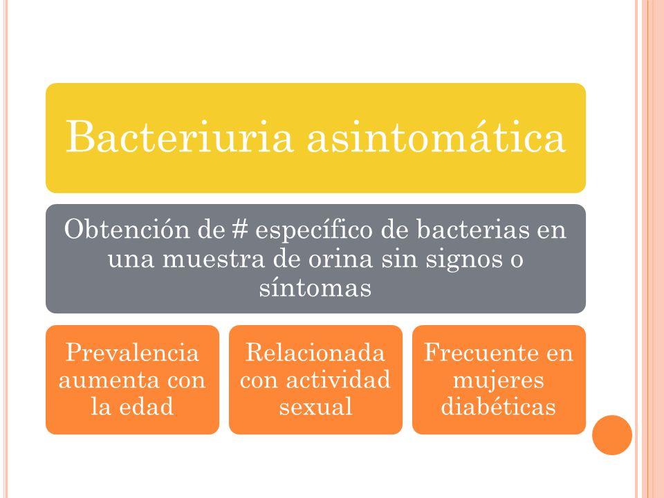 Bacteriuria asintomática Obtención de # específico de bacterias en una muestra de orina sin signos o síntomas Prevalencia aumenta con la edad Relacion