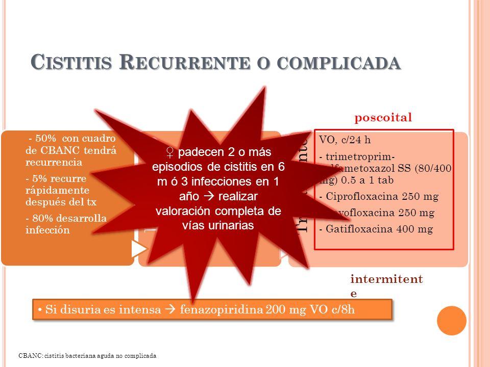 C ISTITIS R ECURRENTE O COMPLICADA - 50% con cuadro de CBANC tendrá recurrencia - 5% recurre rápidamente después del tx - 80% desarrolla infección Dia