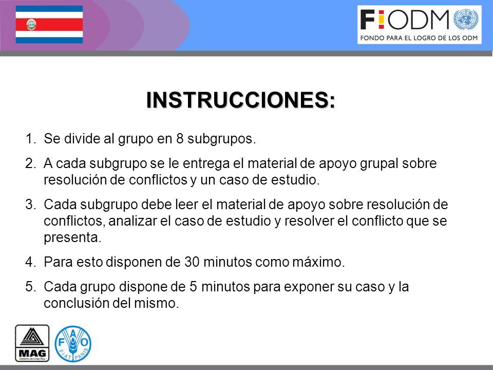 INSTRUCCIONES: 1.Se divide al grupo en 8 subgrupos.