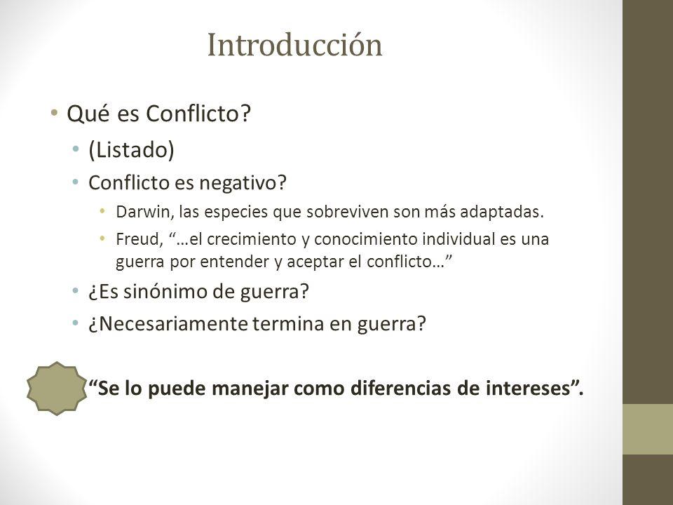 Introducción Buenas noticias sobre el conflicto: Es la semilla para el cambio social, guerrillas, guerras, dictaduras.