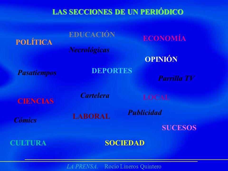LA PRENSA. Rocío Lineros Quintero LAS SECCIONES DE UN PERIÓDICO POLÍTICA CIENCIAS DEPORTES LOCAL ECONOMÍA SOCIEDAD LABORAL OPINIÓN SUCESOS EDUCACIÓN C