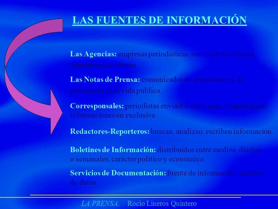 LA PRENSA. Rocío Lineros Quintero LAS FUENTES DE INFORMACIÓN Las Agencias: empresas periodísticas, suministran noticias, comunicados neutros. Las Nota