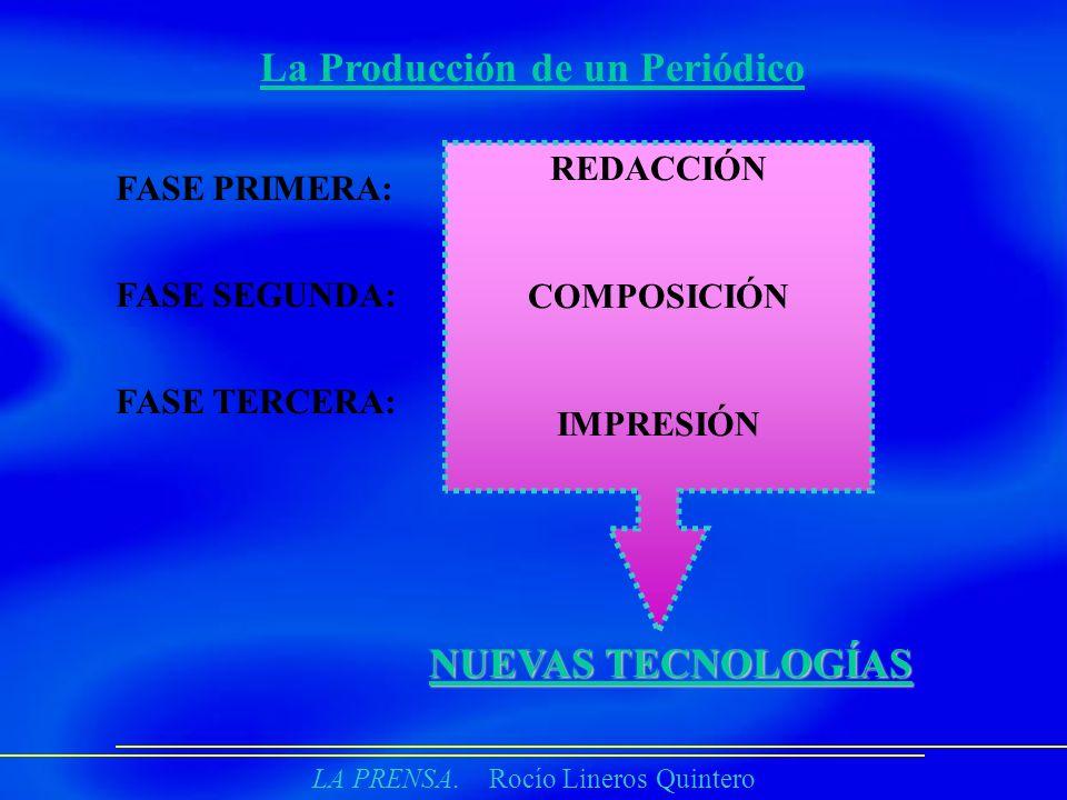 LA PRENSA. Rocío Lineros Quintero La Producción de un Periódico FASE PRIMERA: FASE SEGUNDA: FASE TERCERA: REDACCIÓN COMPOSICIÓN IMPRESIÓN NUEVAS TECNO