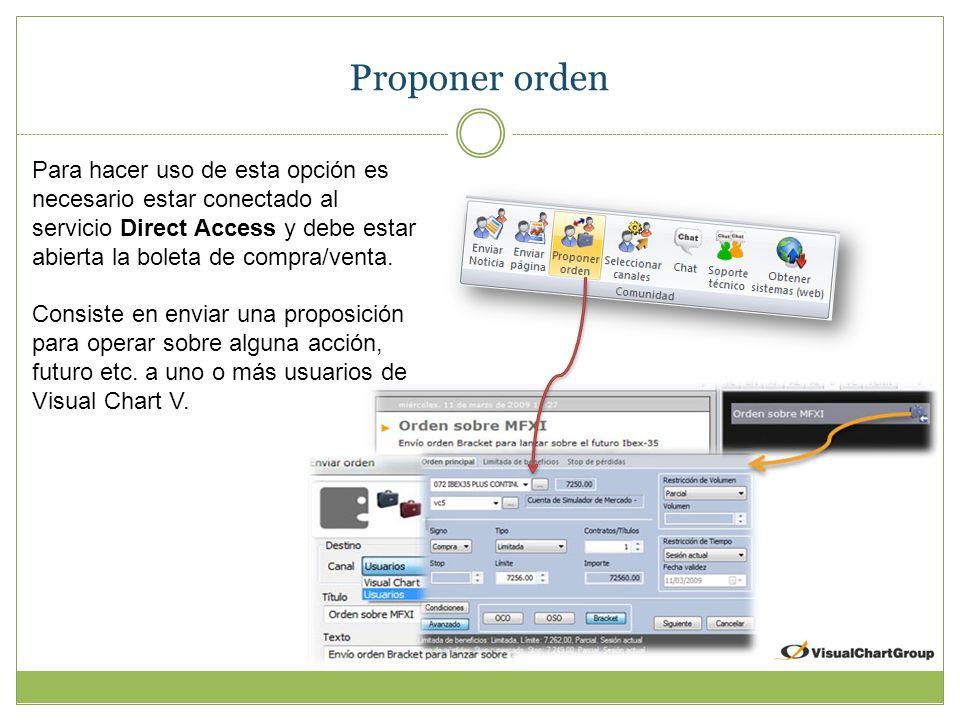 Proponer orden Para hacer uso de esta opción es necesario estar conectado al servicio Direct Access y debe estar abierta la boleta de compra/venta.